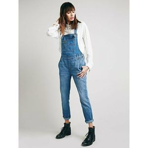 Free People Overalls Washed Denim Jean Ankle Crop